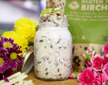 Organic living breakfast foods, muesli